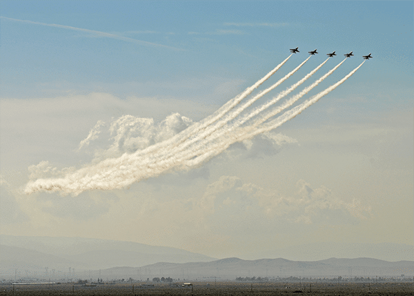 The thunderbirds in the air visiting Lancaster