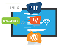 Computer icon with HTML 5, PHP, Java Script, WordPress and Adobe symbols